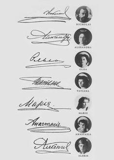 Romanov family signatures