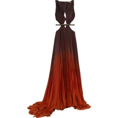 Roberto Cavalli Ombré cutout pleated silk-chiffon gown ($8,630) ❤ liked on Polyvore featuring dresses, gowns, long dresses, red gown, red ball gown, cut out dress, long red dress and pleated dress