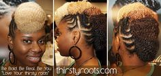 Multicolored Flat Twist Bumps with braided side. Styled as a mohawk.