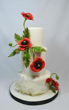 Wedding cake with poppy flowers by Yelena - http://cakesdecor.com/cakes/274687-wedding-cake-with-poppy-flowers