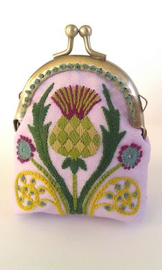 Kit : Thistle Coin Purse Crewel Embroidery Project