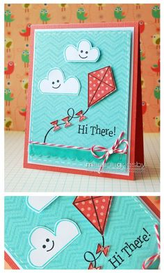 Handmade card - kite and clouds - Fly High
