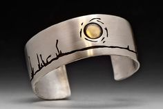 Boreal Treeline Cuff Bracelet Sterling Silver and by AlexMetalArts