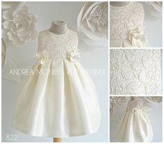 822 Elegante Vestido Crema Encage Sutage Lace Baby Dress