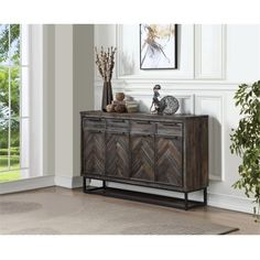 Mistana Kaelyn Solid Wood TV Stand for TVs up to 70 inches Etagere Bookcase, Credenza, Hooker Furniture, Living Room Furniture, European Hinges, Solid Wood Tv Stand, Dining Table Chairs, Dining Room, Rustic Design