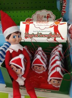 """""""Elf on the Shel"""" A great family game . The Elf on the Shelf comes into your home to keep watch on the kids for Santa. He only comes to life at night while the kids are sleeping. They aren't allowed to touch them or the magic wears off. Every day the elf moves (with the help of mom/Dad,Grandma,etc) and the kids need to go see what mischief he's gotten himself into! Click on the pic for some ideas of places he could be! A great year after year tradition for you & your family!"""