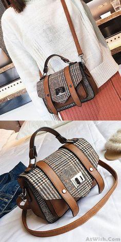 2a5dfa1eb5e Leisure Double Buckle Girl's PU Splicing Plaid Woolen Belt Flap Shoulder Bag  for big sale!