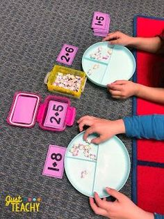 Introducing Addition in Kindergarten  Number Bond Plates in the Math Center  #justteachy #kindergarten #addition