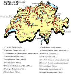 Map of Switzerland - Castles and Chateaux | PlanetWare