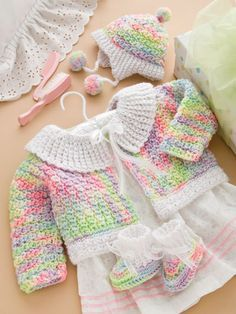 Cuddle Bug Baby Set Crochet Pattern Download from e-PatternsCentral.com.