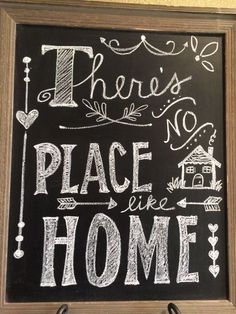 There's no place like home. Diy chalkboard.