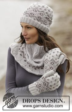 """Winter Melody Set - Set consists of: Knitted DROPS mittens, neck warmer and hat with Nordic pattern in """"Lima"""". Size: One-size - Free pattern by DROPS Design Mittens Pattern, Knit Mittens, Knitted Gloves, Drops Design, Knit Crochet, Crochet Hats, Fair Isle Knitting Patterns, Crochet Patterns, Knitting Accessories"""