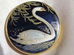 Estate Antique Marked Japanese Satsuma Porcelain Button Navy Blue Swan | eBay