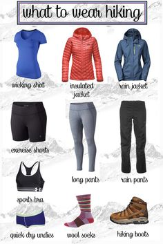 What to Wear Hiking Not sure what to wear when hiking? Learn with this hiking guide how to dress for function and comfort on the trail in different conditions. The post What to wear hiking appeared first on Camping. Thru Hiking, Camping And Hiking, Camping List, Winter Camping, Hiking The Appalachian Trail, Best Camping Gear, Hiking With Kids, Camping Gadgets, Kayak Camping