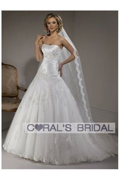 (from Coral's Bridal) WD11270 strapless ball wedding dress bridal gown Primavera    Strapless, full A-line gown with dipped neckline and corset closure. This style features ruched Valencia Organza creating a gorgeous hourglass shape in the bodice. The full A-line skirt is created from Point d'Esprit adorned with embellished corded lace.