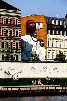 """ღღ berlin  streetart  This is across from the """"East Side Gallery"""""""