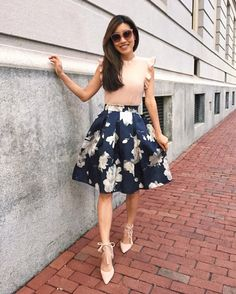 b6a61c5c full floral skirt + lace up pumps // dressy outfit ideas from extra petite  style