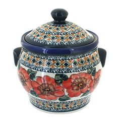 Polish Pottery Peach Floral Medium Canister -- Details can be found by clicking on the image.(This is an Amazon affiliate link and I receive a commission for the sales)
