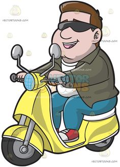 A Cool Guy Riding A Scooter:  A man with brown hair wearing dark shades white shirt olive green jacket denim pants red with white sneakers parts his lips to smile while riding his yellow scooter  The post A Cool Guy Riding A Scooter appeared first on VectorToons.com.  #clipart #people #cartoon #vector #vectortoons