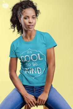 """Looking to spread kindness?  This """"It's Cool to be Kind"""" tee is both cute and comfortable. Perfect for days in and out of the classroom, this is more than just a teacher tee- it's an every day kindness tee. Available in a variety of colors, this Bella + Canvas tee is flattering, soft, and comfortable. #teachertee #kindness"""