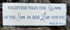 Nautical Nursery Décor Scripture Verse Beach Sign Wall Art New Beachy Baby Shower Gift Religious Mightier Than Waves Of The Sea Psalm 93 4 Boys Girls Room