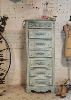 Painted Cottage Chic Shabby Tea Stained Lingerie Chest by {The Painted Cottages} I love the way they restore furniture! Distressed Furniture, Shabby Chic Furniture, Shabby Chic Decor, Vintage Furniture, Blue Furniture, Grey And Gold Bedroom, Painted Cottage, Furniture Makeover, Furniture Ideas