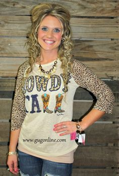 Howdy Y'all Cheetah Sleeve Burnout Baseball Tee www.gugonline.com