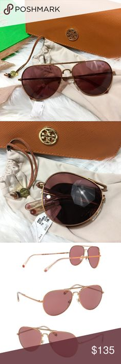Tory Burch Aviator Rose Gold Sunglasses Tory Burch Sunglasses - AVIATOR TY6054 322575 58 ROSE GOLD PINK BURGUNDY RED SOLID Women's Full Rim. Prescription capable. Lens Width: 58 mm Bridge Width: 14 mm Arm Length: 135 mm Lens Height: 48 mm 100% authentic Tory Burch Accessories Sunglasses