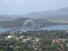 The Bridge of the Americas in Panama City, Panama takes you one of locks/dams on the Panama Canal.