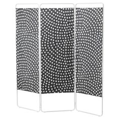 """JORDET Room divider - IKEA This would be SOOO useful in our apartment living. It's a bit """"busy"""" with all those dots, but I like that it is black and white. Dressing Ikea, Sliding Room Dividers, Clothes Stand, Cool Beds, Home Decor Furniture, Apartment Living, Decoration, Home Projects, Home Interior Design"""