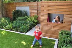 Cool for kids: garden designer Lucy Willcox's children love the fake lawn and stylish playhouse with eco-friendly sedum roof Kids Playset Outdoor, Backyard Playset, Backyard Trampoline, Backyard Playhouse, Playhouse Plans, Small Backyard Landscaping, Backyard For Kids, Modern Playhouse, Sedum Roof