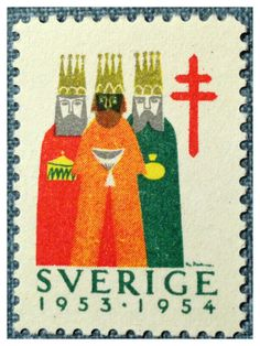 Postage stamp from Sweden featuring the three kings Postage Stamp Design, Three Wise Men, Love Stamps, Vintage Stamps, Mail Art, Stamp Collecting, Poster, Bunt, Vintage Christmas