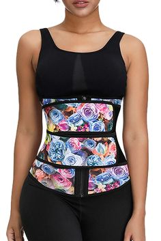 Floral Printing Compression Double Strap Latex Waist Trainer – ModeShe.com Latex Waist Trainer, Waist Trainer Corset, Daily Fashion, Fashion News, Robes D'occasion, Gaines, Waist Cincher, Top Pattern, Outfit