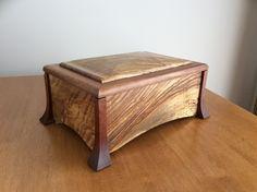 English Ash and Makore feet. Decorative Wooden Boxes, Custom Wooden Boxes, Small Wooden Boxes, Wooden Jewelry Boxes, Wood Shop Projects, Wooden Projects, Diy Wood Box, Wood Boxes, Woodworking Box
