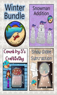 Winter Craftivities: Math Bundle 3 December, January or February Craftivities at a lower price than purchasing each one Hot Chocolate Count by Snow Globe Subtraction Snowman Addition Craftivity - Seasons Activities, New Years Activities, Valentines Day Activities, Holiday Activities, Fun Activities, Classroom Activities, Counting In 5s, Winter Fun, Winter Season