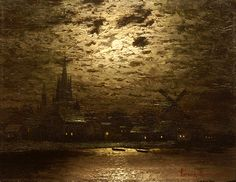 poboh: Moon over night at the havel werderstrasse, Ernst Lorenz-Murowana. Berlin, Moonlight, Still Life, Restoration, Germany, Landscape, Stone, Night, Painters
