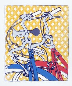Bicycle Art Print Two Bikes Together Kate by bicyclepaintings