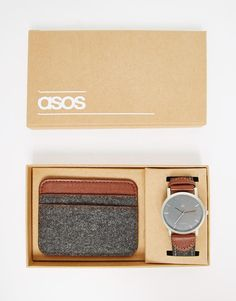 ASOS+Watch+And+Card+Holder+Set+In+Charcoal+Felt
