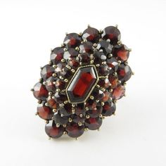 12k Early Victorian Hexagon/Round Bohemian Garnet Triple Halo Cluster Ring | RC #Unbranded #Cluster