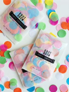 Knot & Bow colored confetti pink, orange, yellow, green, blu, white