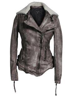 Women's Fashion Leather Jackets Muubaa Jadene Sheepskin Biker in Army Grey
