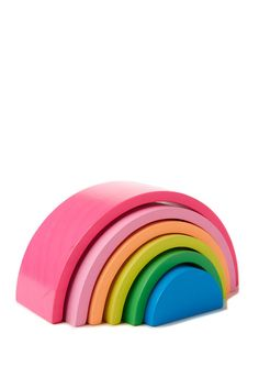 RAINBOW BLOCK- Use this rainbow puzzle is ideal for creative play- create bridges, sculptures, tunnels or sort and stack 6 piece. Measures 17cm x 8.5cm x 6cm.