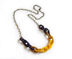 Mustard Yellow Polymer Clay Chain Necklace - Honey Mustard Black Ombre - Handmade Oversized Chain Link Necklace