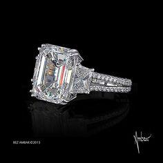 three stone engagement ring emerald cut center side princess pave split shank octopus - Million Dollar Wedding Ring