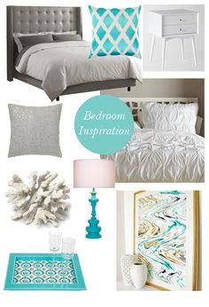 gray bedroom with pop of color super Ideas bedroom grey white turquoise tiffany blue Tiffany Blue Bedroom, Gray Bedroom, Trendy Bedroom, Master Bedroom, Blue Bedrooms, Tiffany Room, Summer Bedroom, Room Photo, Grey Bedroom With Pop Of Color