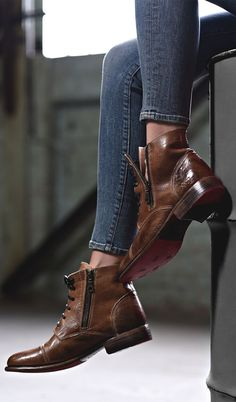 Tan leather ankle boot by BEDSTU. Half way unzip one side for an edgy look. Pairs great with skinny cropped denim. Tan Leather Ankle Boots, Lace Up Ankle Boots, Leather Booties, Shoe Boots, Denim Boots, Brown Leather, Short Boots Outfit, Zapatos Shoes, Beautiful Shoes