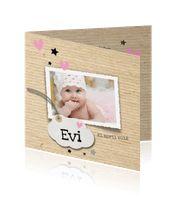 Foto geboortekaartje meisje ruw kraft en hartjes - LOVZ:http://kaartjesparadijs.nl/winkel/foto-geboortekaartje-meisje-ruw-kraft-en-hartjes-lovz/