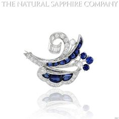 Natural Sapphire Brooch diamonds 1.25ct. total. (J3417) | Your #1 Source for Jewelry and Accessories