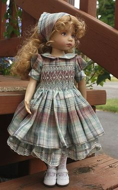 "Beautiful smocked outfit for 13"" Dianna Effner Little Darling dolls. Love the ""lace"" edging on the plaid..."