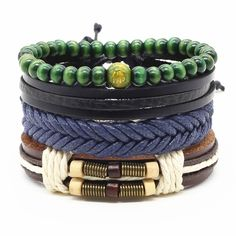 Like and Share if you want this  4pcs/set Handmade Fashion Trendy Vintage Female Femme Homme Male Punk Wood Bead Charm Men  Leather Bracelet For Women Jewelry     Tag a friend who would love this!     FREE Shipping Worldwide     Get it here ---> http://samasanow.com/4pcs-set-handmade-fashion-trendy-vintage-female-femme-homme-male-punk-wood-bead-charm-men-leather-bracelet-for-women-jewelry/